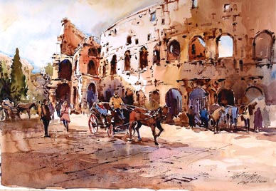 Colosseo Rome Watercolour Painting