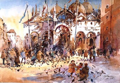 Venice San Macro Basillica Cathedral Watercolour Painting