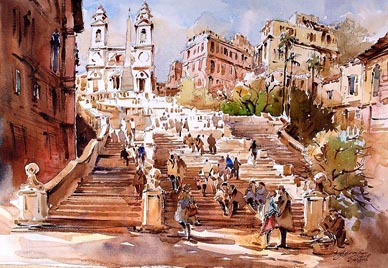 Spagna Spanish Steps Rome Watercolour Painting