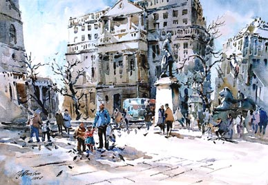Trafalgar Square London Watercolour Painting