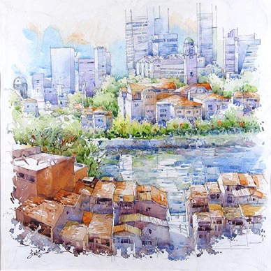 Singapore River Acrylic Oil Watercolour Painting