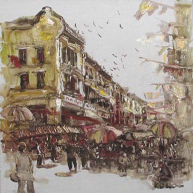 Historical Singapore chinatown painting