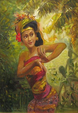 Balinese Dancer Oil painting Bali Singapore
