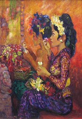 Balinese girl Bali Island Singapore Impressionist Oil Painting