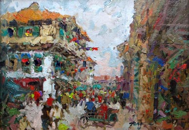 Chinatown Singapore Oil Painting by Tong Chin Sye