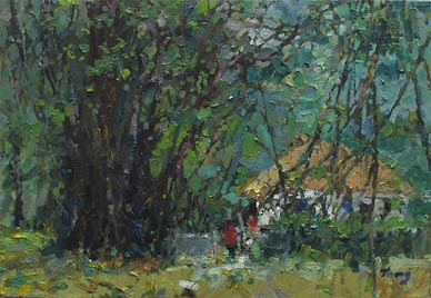 Banyan Tree at Istana, Singapore Oil Painting