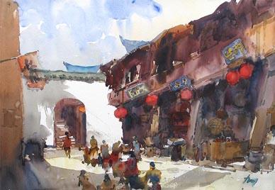China Scene Watercolor