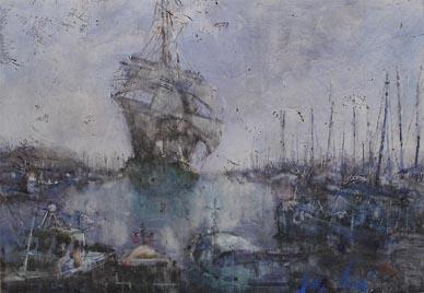 Watercolour Seascape Boats Harbour