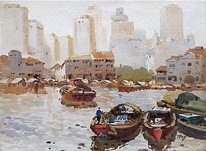 Ong Kim Seng NWS AWS awsdf df Singapore River Old Watercolour Painting