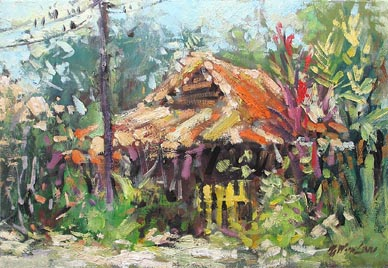 Singapore Kampong Buangkok, Oil Painting