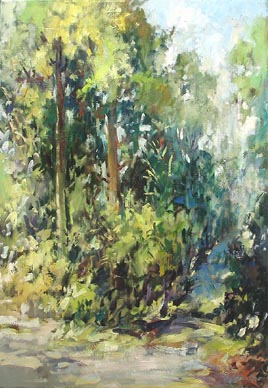 Singapore Botanical Garden Green Trees Forest Oil Painting