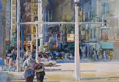 Chicago Washington Street Watercolour Painting