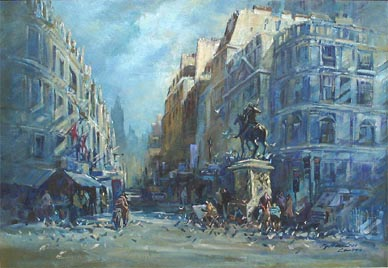 London Street Oil Painting