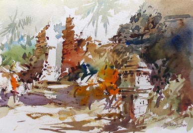 Balinese Bali Island Watercolour Painting