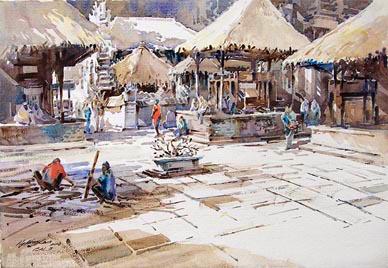 Balinese Bali Island Watercolour Painting