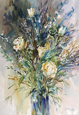 Singapore White Roses Still Life Watercolour Painting