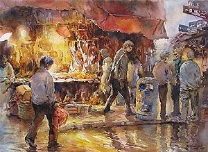 Hong Kong Eveing Market Ng Woon Lam Watercolour Painting