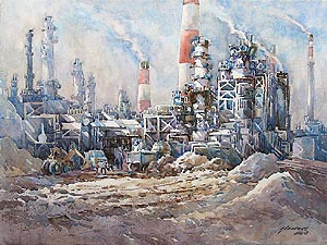 Singapore Jurong Island Oil Refinery Watercolour Painting