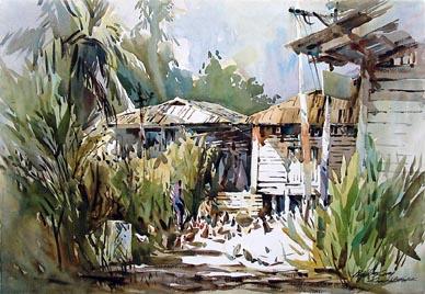 Kampong Buangkok Watercolour Painting