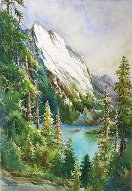 Lake Tahoe California Watercolour Painting