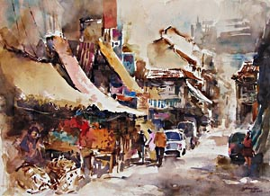 Singapore Watercolour painting Little India Market