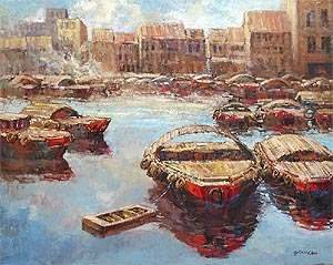 Singapore River Oil Painting