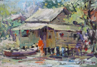 Pulau Ubin Singapore Oil Watercolour Painting