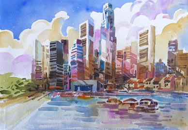 Singapore contemporay art cityscape Landscape skyline Watercolour Painting