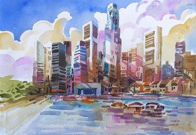 Singapore contemporay art cityscape Landscape skyline Watercolour Painting