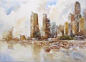 Singapore Skyline Watercolor Oil Painting IR Integrated Resorts