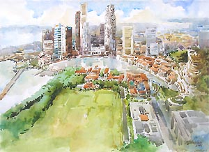 Singapore Skyline Watercolor Oil Painting