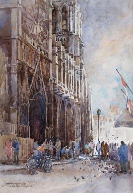 Notre Dame St Chapel Paris Watercolour Painting