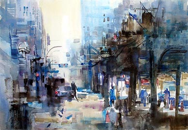 Chicago Wabash Street Impression Watercolour Painting
