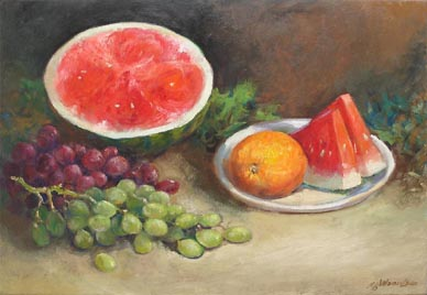 Singapore Still Life Fruits Oil Painting