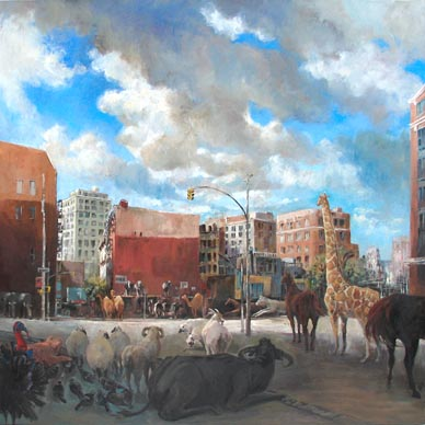 Rush Hour, Ng Woon Lam New York City Tribeca Oil Painting