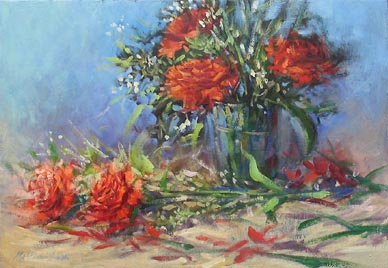 Mother's Love Day Red Carnations Painting