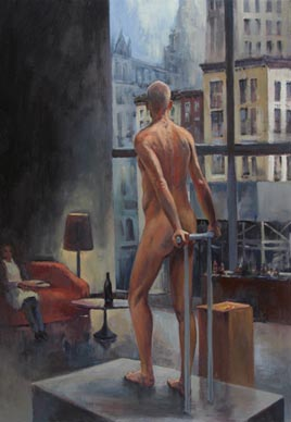 Nude Man Overlooking Tribeca New York