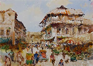 Chinatown 1987, Tong Chin Sye, Singapore Watercolour Painting