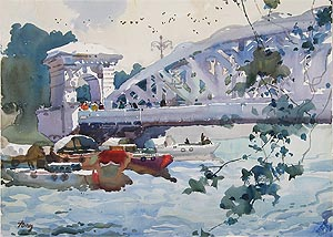 Singapore River Fullerton Bridge, Watercolor Painting