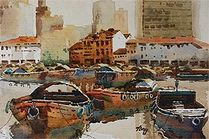 Singapore Pictures on Singapore River Old Boat Quay  Watercolor Painting