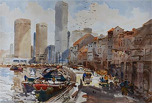 Tong Chin Sye Singapore River Skyline, Watercolor Painting