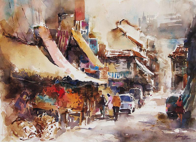 singapore watercolor by ng woon lam nws aws mfa open art. Black Bedroom Furniture Sets. Home Design Ideas