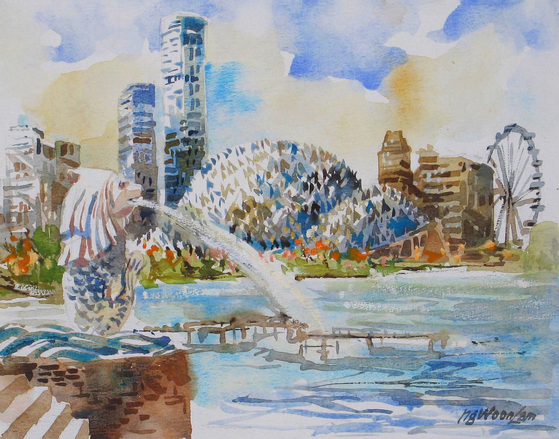Sinapore Merlion Esplanade Commission Painting