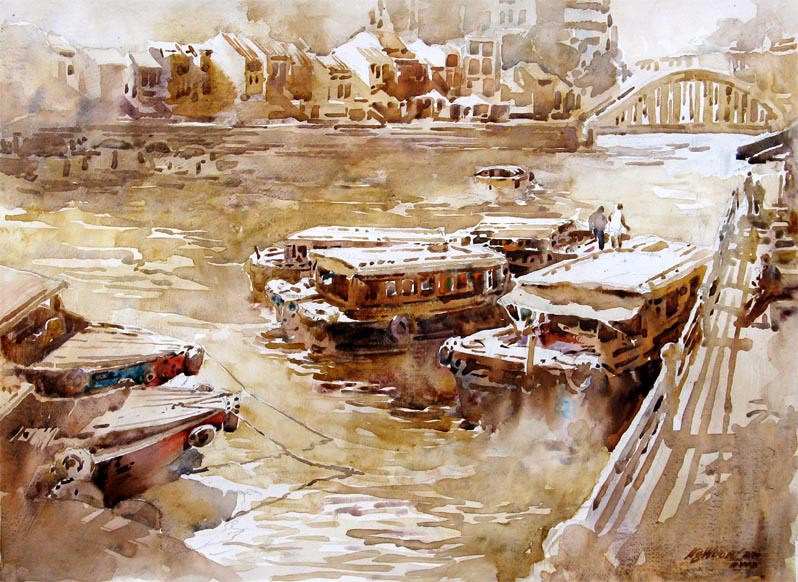 Singapore River Clark quay, Watercolour Painting