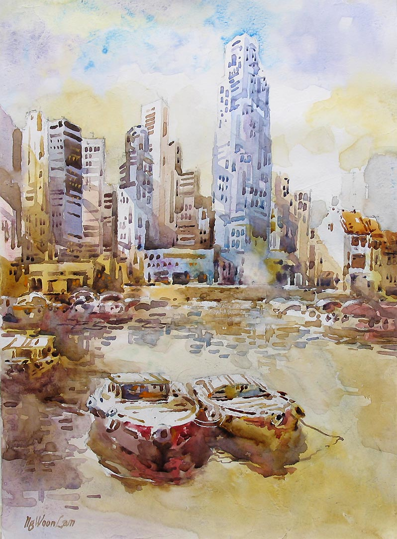 Singapore Boat Clark Quay Landscape Watercolour Painting