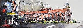Singapore Watercolor Painting Old Shop Houses Zhu Hon