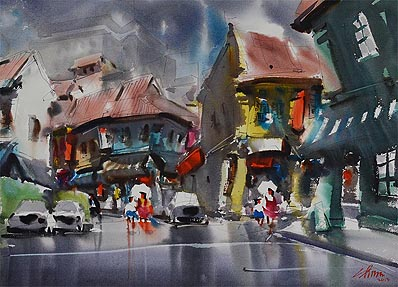 Singapore Watercolor Painting Zhu Hong