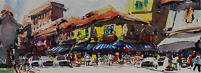 Singapore Watercolor Painting Zhu Hong