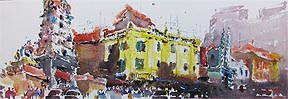 Singapore Watercolor Painting Old Shop Houses Zhu Hong