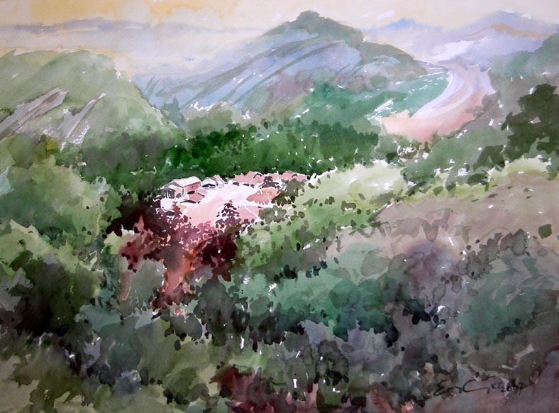 Chiang Mai Highland Thailand watercolour painting